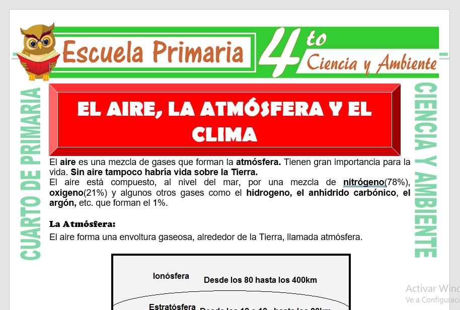 Ficha de El Aire, la Atmósfera y el Clima para Cuarto de Primaria