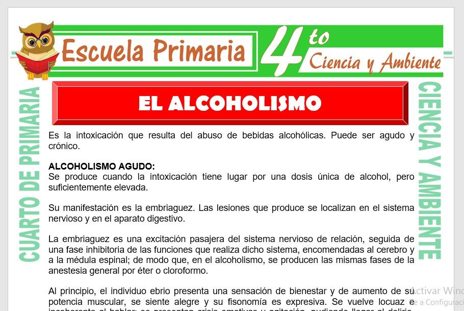 Ficha de El Alcoholismo para Cuarto de Primaria