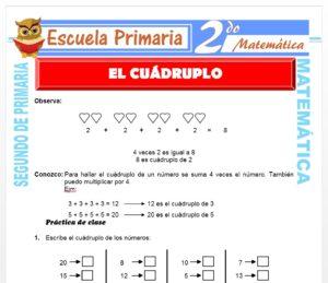 Ficha de El Cuádruplo para Segundo de Primaria