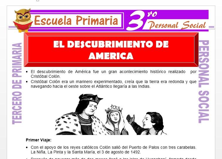 Ficha de El Descubrimiento de America para Tercero de Primaria