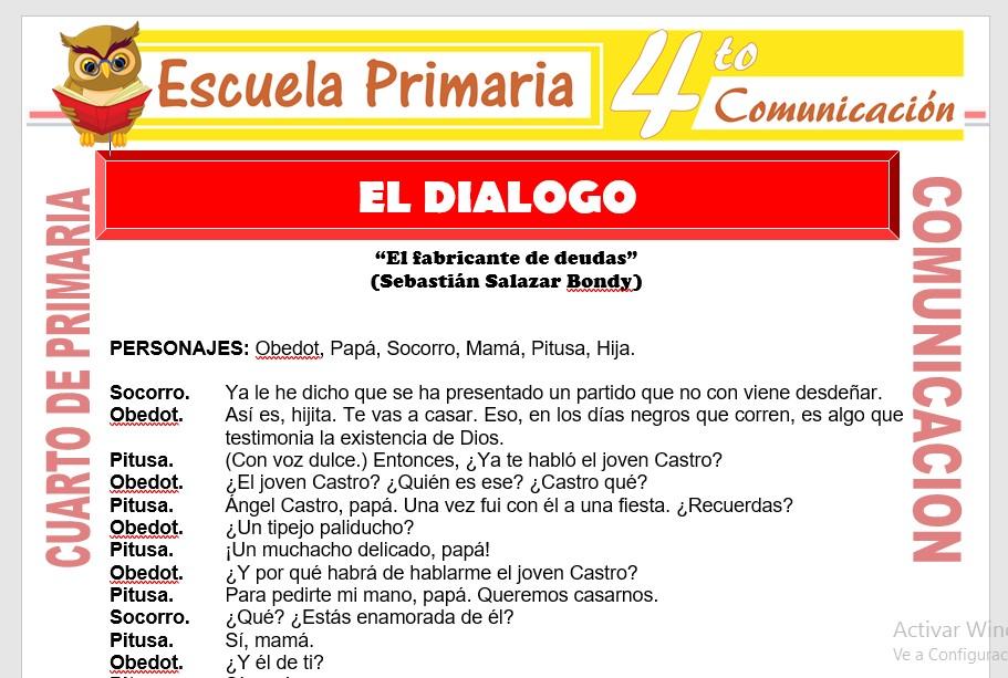 Ficha de El Dialogo para Cuarto de Primaria