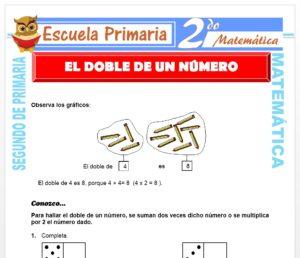 Ficha de El Doble de un Numero para Segundo de Primaria