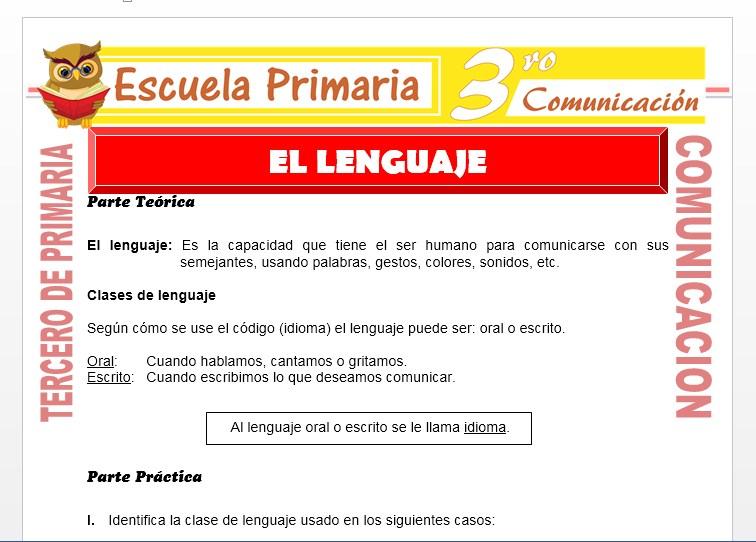 Ficha de El lenguaje para Tercero de Primaria