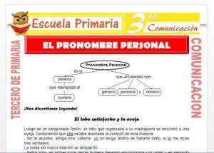 Ficha de El Pronombre Personal para Tercero de Primaria