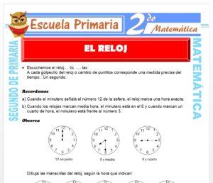 Ficha de El Reloj para Segundo de Primaria