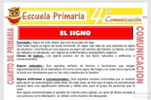 Ficha de El Signo para Cuarto de Primaria
