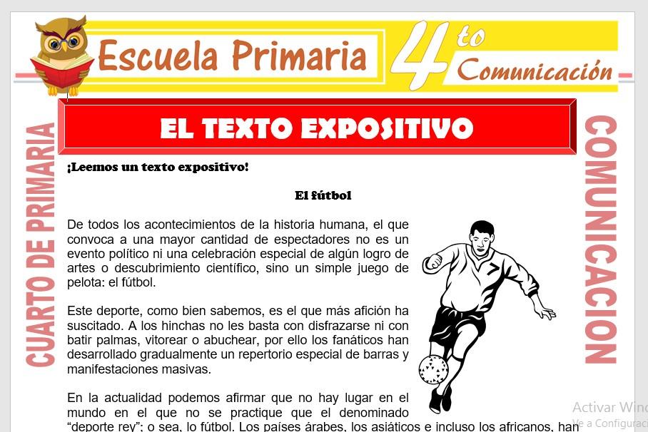 Ficha de El Texto Expositivo para Cuarto de Primaria