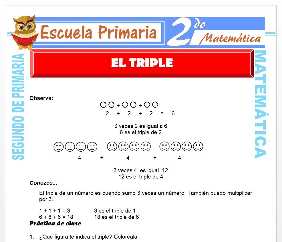Ficha de El Triple para Segundo de Primaria