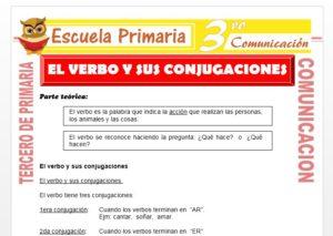 Ficha de El Verbo y Sus Conjugaciones para Tercero de Primaria