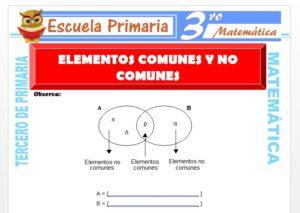 Ficha de Elementos Comunes y no Comunes para Tercero de Primaria