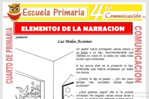 Ficha de Elementos de La Narración para Cuarto de Primaria