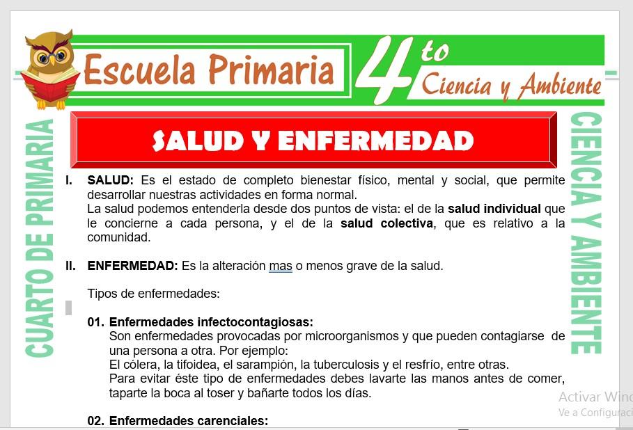 Ficha de Enfermedades y Salud para Cuarto de Primaria