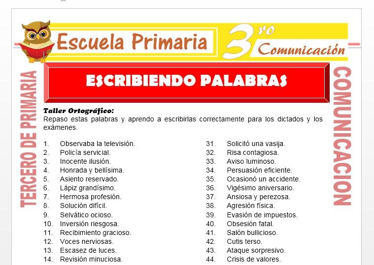 Ficha de Escribiendo Palabras para Tercero de Primaria