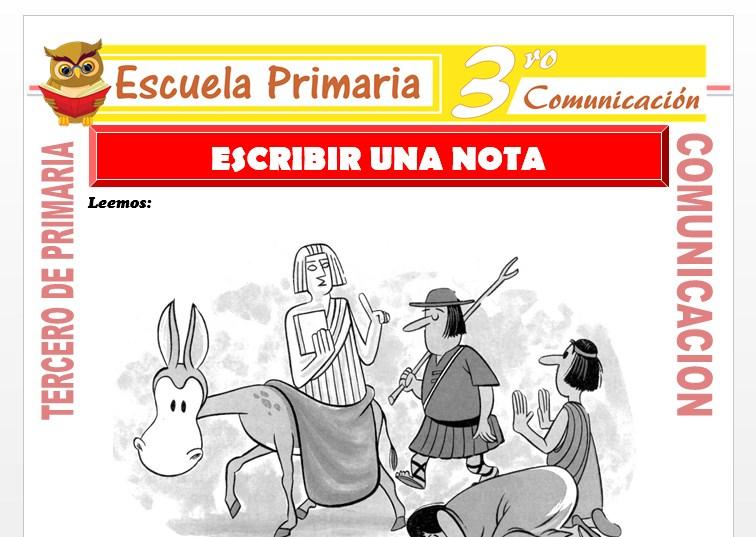 Ficha de Escribir una Nota para Tercero de Primaria