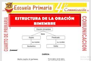Ficha de Estructura de La Oración Bimembre para Cuarto de Primaria
