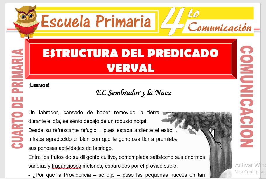 Ficha de Estructura del Predicado Verbal para Cuarto de Primaria