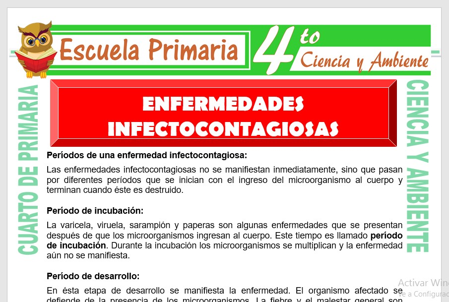 Ficha de Etapas de Las Enfermedades Infectocontagiosa para Cuarto de Primaria