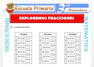Ficha de Exploremos Fracciones para Tercero de Primaria