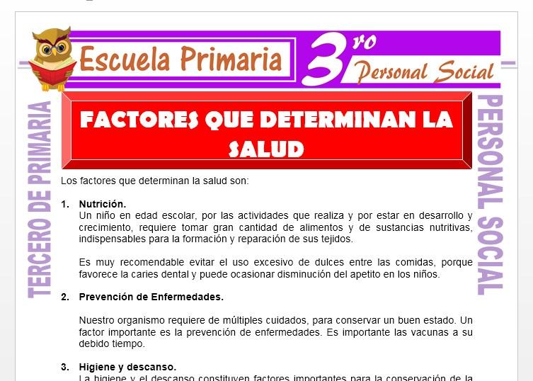 Ficha de Factores Que Determinan la Salud para Tercero de Primaria