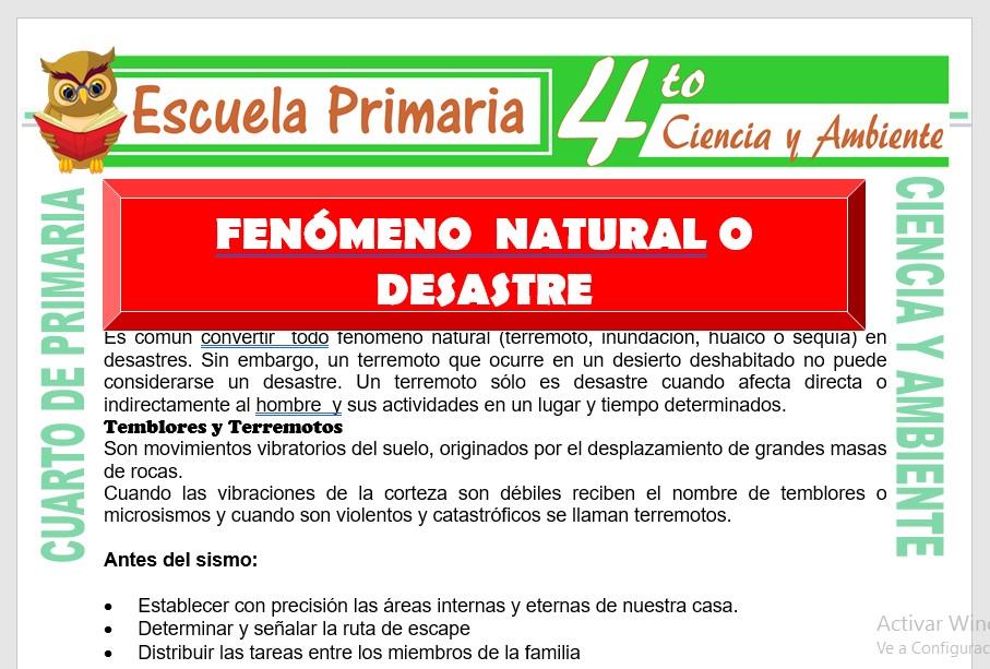 Ficha de Fenómeno Natural o Desastre para Cuarto de Primaria