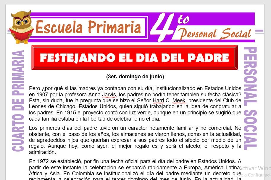 Ficha de Festejando el Día del Padre para Cuarto de Primaria