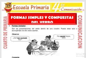 Ficha de Formas Simples y Compuestas del Verbo para Cuarto de Primaria