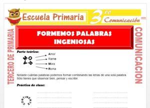 Ficha de Formemos Palabras Ingeniosas para Tercero de Primaria