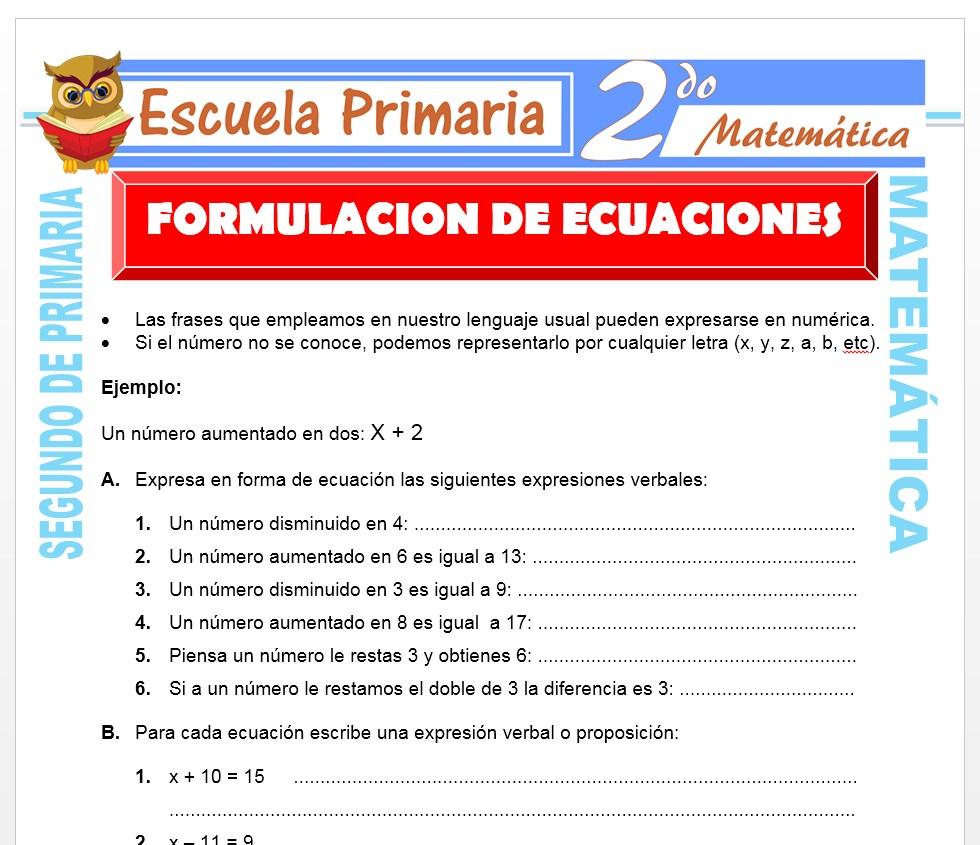 Ficha de Formulación de Ecuaciones para Segundo de Primaria