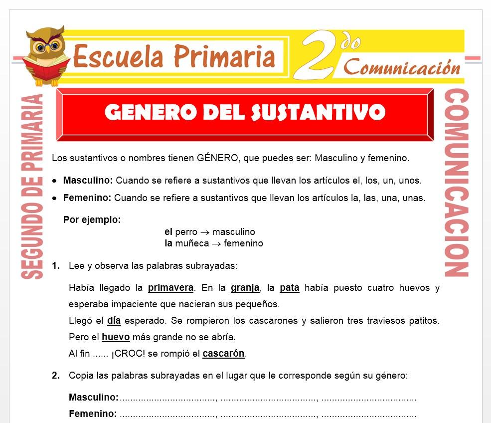 Ficha de Genero del Sustantivo para Segundo de Primaria