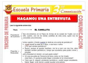 Ficha de Hagamos una Entrevista para Tercero de Primaria