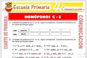 Ficha de Homófonos C - Z para Cuarto de Primaria