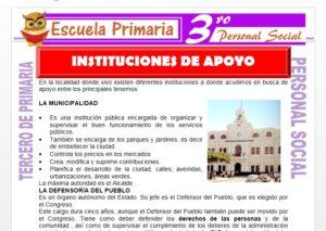 Ficha de Instituciones de Apoyo para Tercero de Primaria