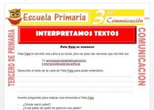 Ficha de Interpretación de Textos para Tercero de Primaria