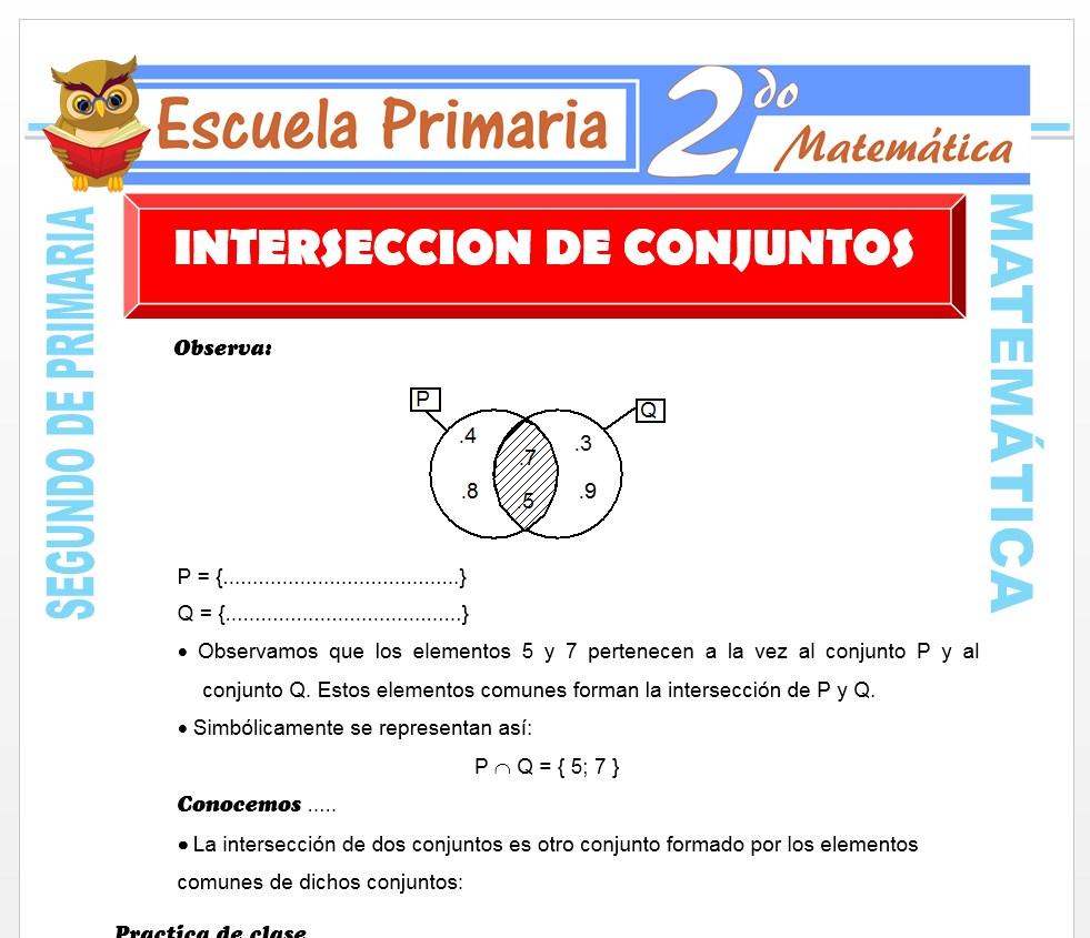 Ficha de Intersección de Conjuntos para Segundo de Primaria