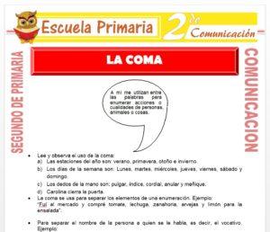 Ficha de La coma para Segundo de Primaria