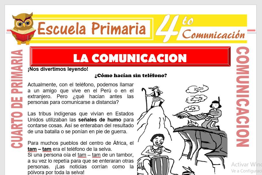 Ficha de La Comunicación para Cuarto de Primaria