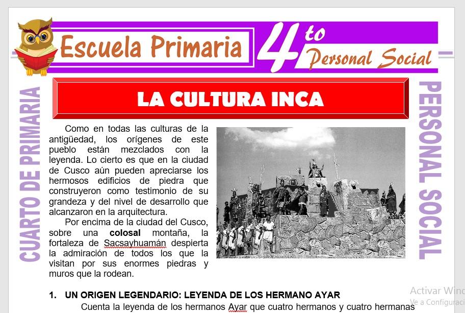 Ficha de La Cultura Inca para Cuarto de Primaria