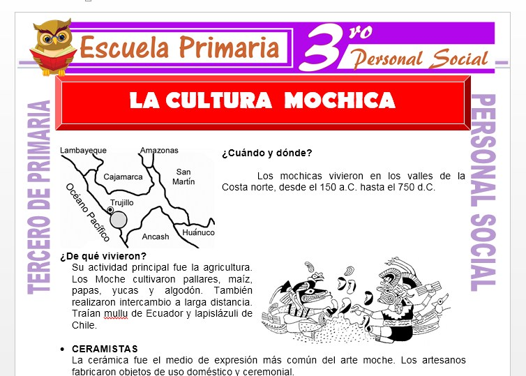 Ficha de La Cultura Mochica para Tercero de Primaria