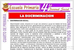 Ficha de La Discriminación para Cuarto de Primaria