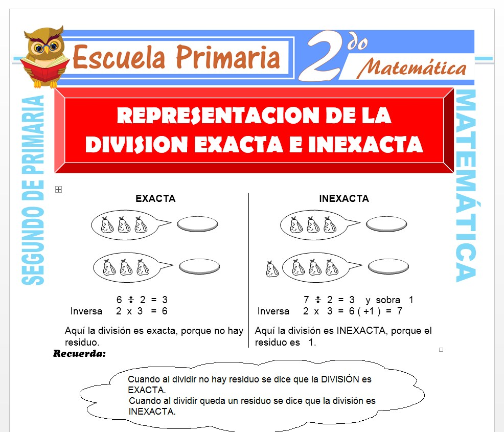 Ficha de La División Exacta e Inexacta para Segundo de Primaria