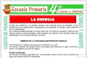 Ficha de La Energia para Cuarto de Primaria