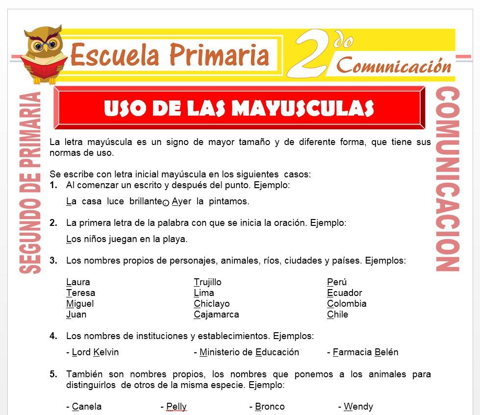 Ficha de La Letra Mayúscula para Segundo de Primaria