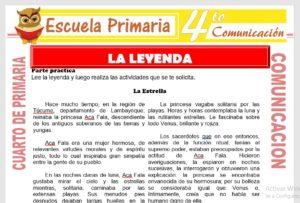 Ficha de La Leyenda para Cuarto de Primaria