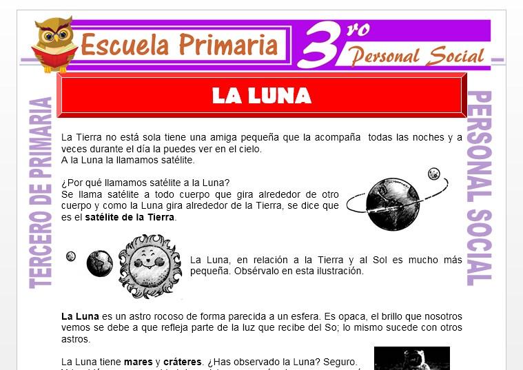 Ficha de La Luna para Tercero de Primaria