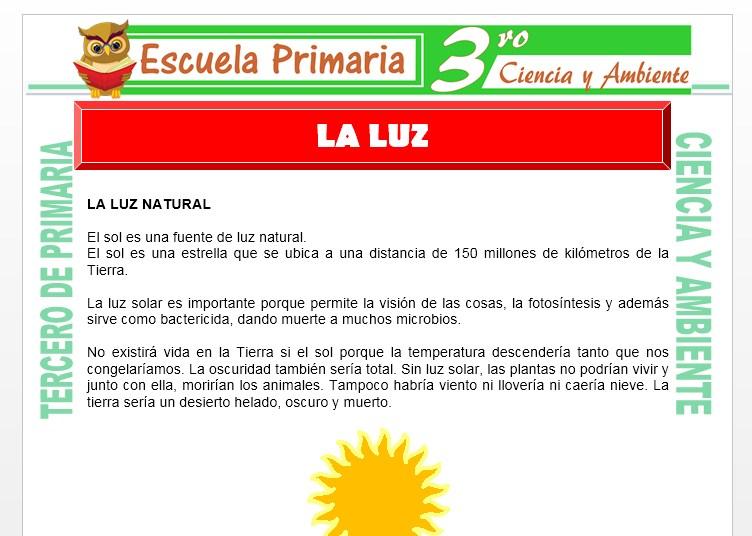 Ficha de La Luz Natural para Tercero de Primaria