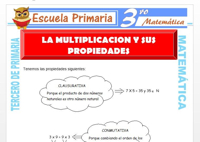 Ficha de La Multiplicación y sus Propiedades para Tercero de Primaria