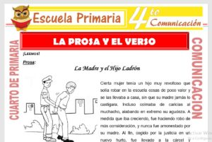 Ficha de La Prosa y El Verso para Cuarto de Primaria