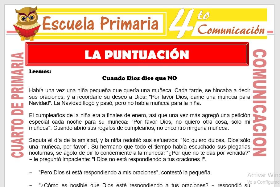 Ficha de La puntuación para Cuarto de Primaria