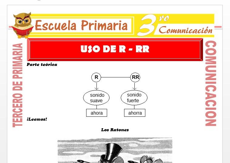 Ficha de La R - RR para Tercero de Primaria