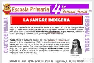 Ficha de La Sangre Indigena para Cuarto de Primaria